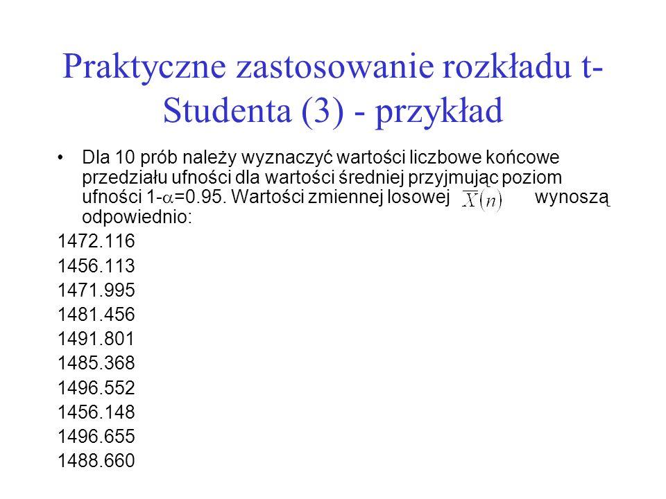 Praktyczne zastosowanie rozkładu t-Studenta (3) - przykład
