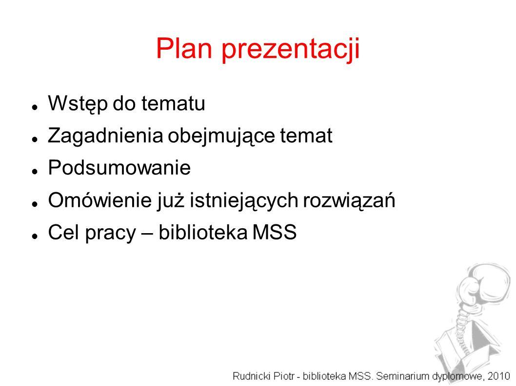 Plan prezentacji Wstęp do tematu Zagadnienia obejmujące temat