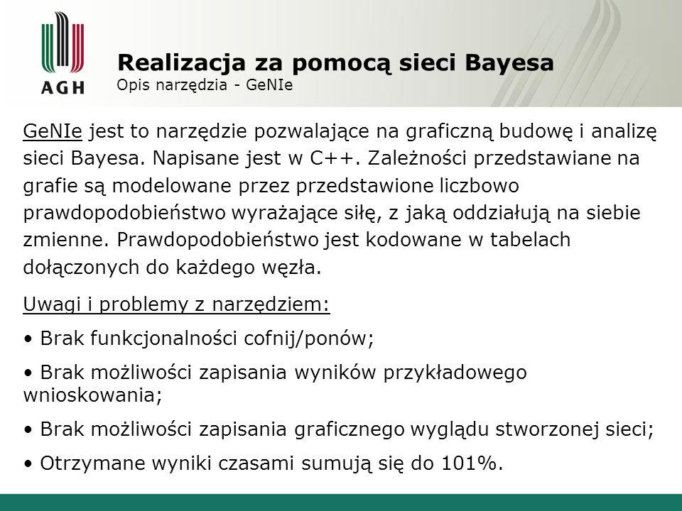 Realizacja za pomocą sieci Bayesa Opis narzędzia - GeNIe