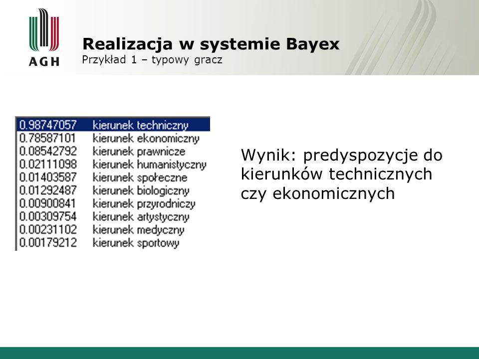 Realizacja w systemie Bayex Przykład 1 – typowy gracz