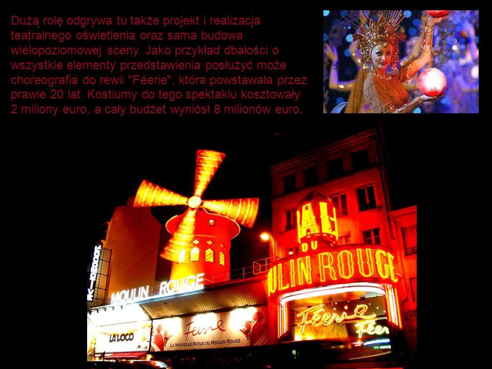 Dużą rolę odgrywa tu także projekt i realizacja teatralnego oświetlenia oraz sama budowa wielopoziomowej sceny.