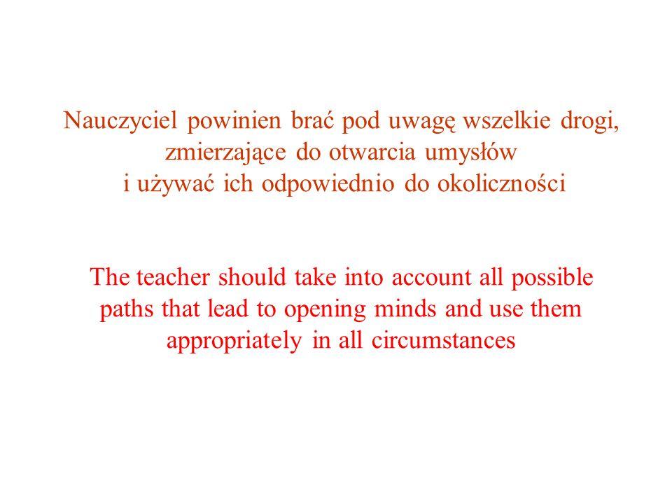 Nauczyciel powinien brać pod uwagę wszelkie drogi, zmierzające do otwarcia umysłów i używać ich odpowiednio do okoliczności The teacher should take into account all possible paths that lead to opening minds and use them appropriately in all circumstances