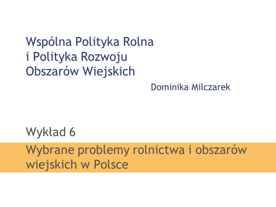 Wykład 6 Wybrane problemy rolnictwa i obszarów wiejskich w Polsce