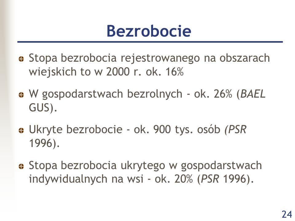 Bezrobocie Stopa bezrobocia rejestrowanego na obszarach wiejskich to w 2000 r. ok. 16% W gospodarstwach bezrolnych - ok. 26% (BAEL GUS).