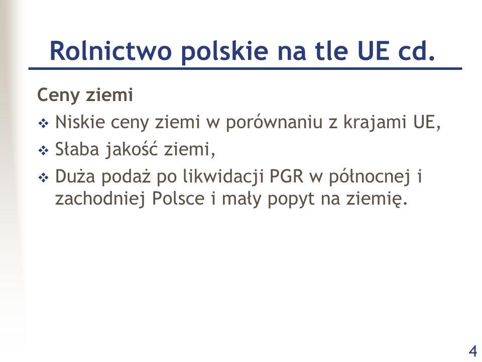 Rolnictwo polskie na tle UE cd.