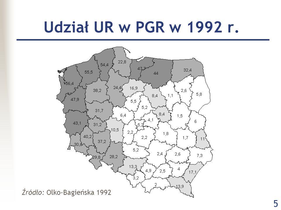 Udział UR w PGR w 1992 r. Źródło: Olko-Bagieńska 1992