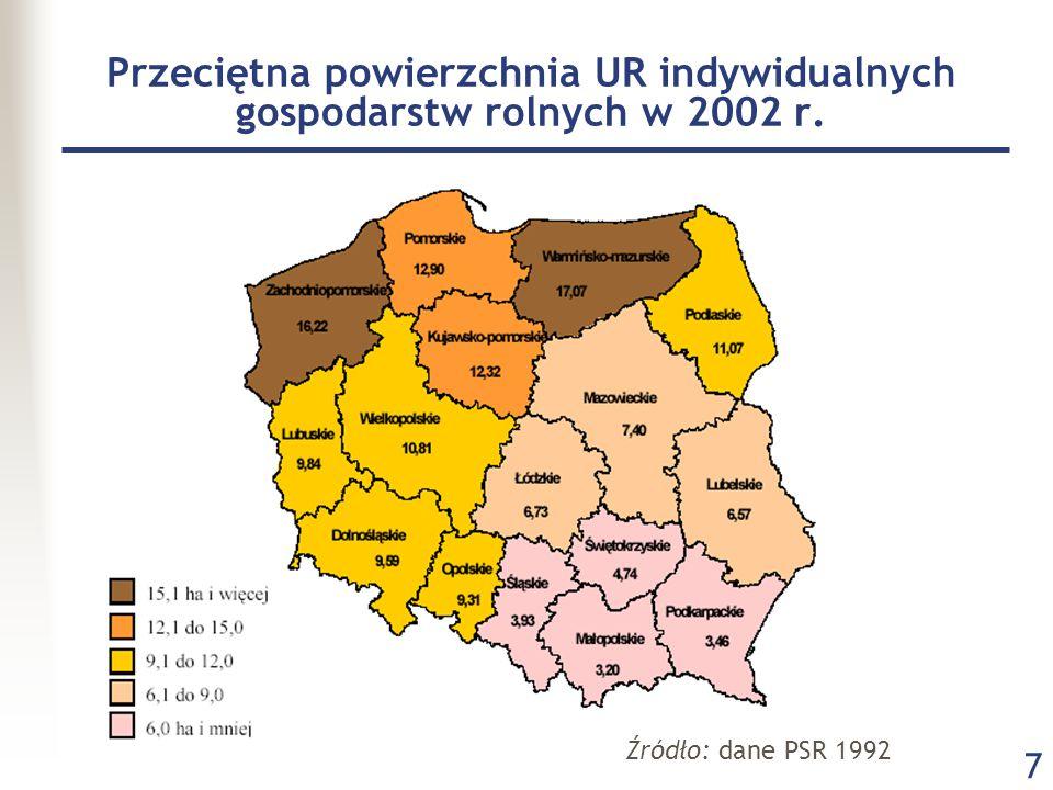 Przeciętna powierzchnia UR indywidualnych gospodarstw rolnych w 2002 r.