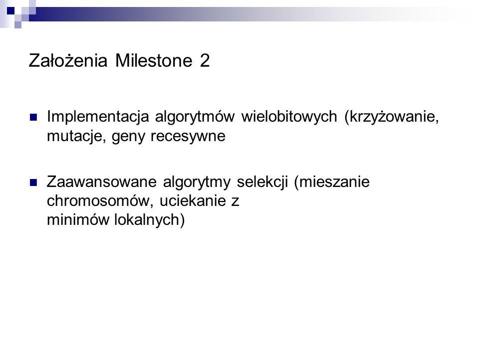 Założenia Milestone 2 Implementacja algorytmów wielobitowych (krzyżowanie, mutacje, geny recesywne.