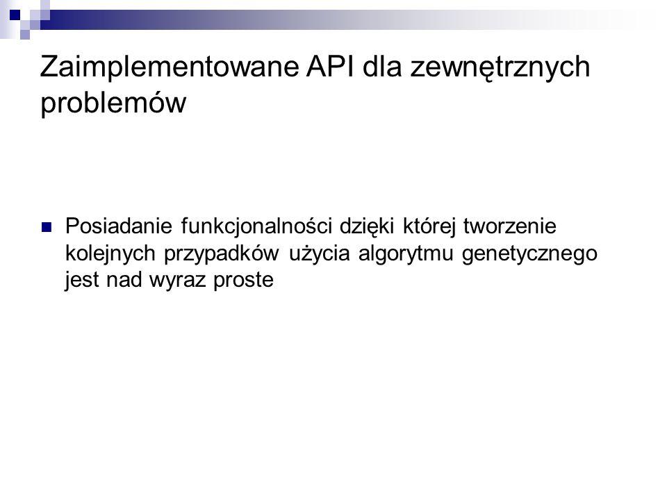 Zaimplementowane API dla zewnętrznych problemów
