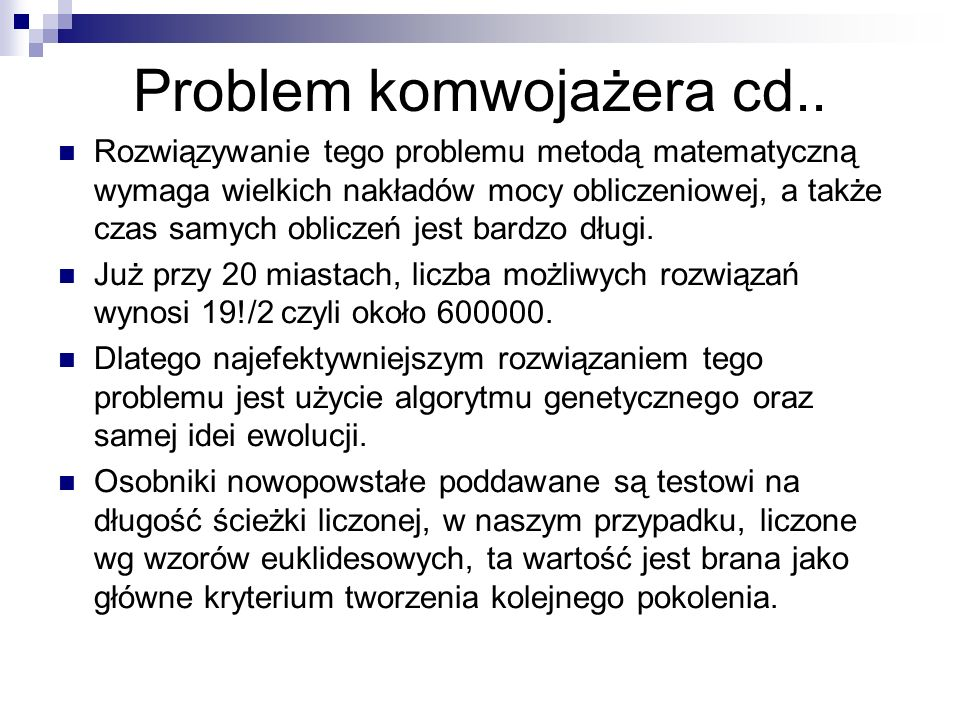Problem komwojażera cd..