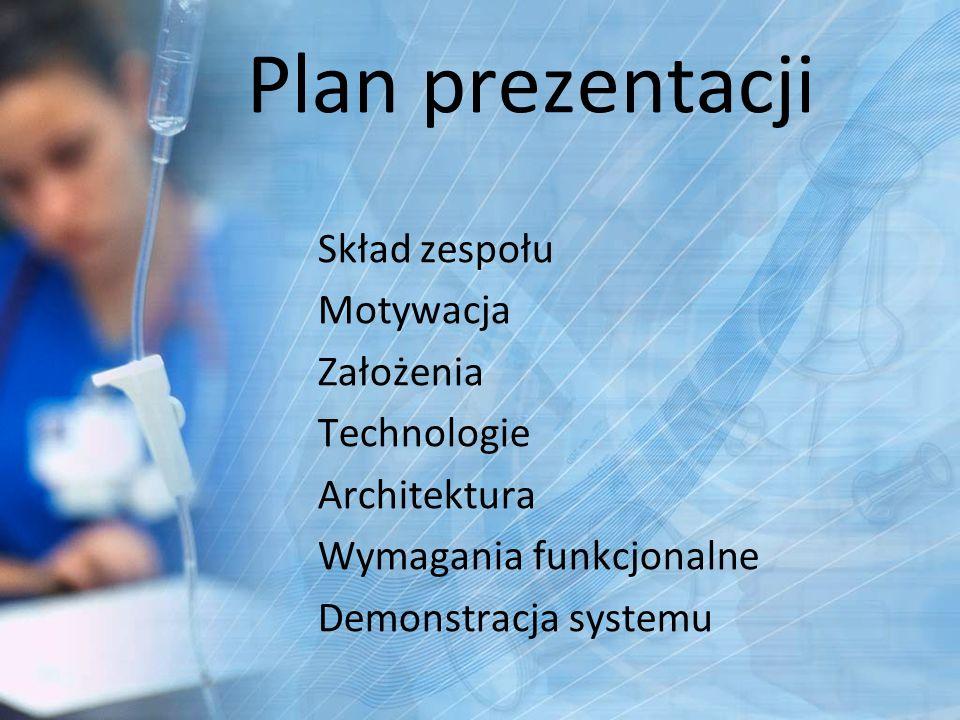 Plan prezentacji Skład zespołu Motywacja Założenia Technologie
