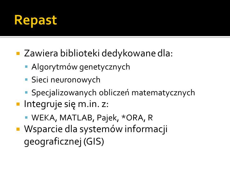 Repast Zawiera biblioteki dedykowane dla: Integruje się m.in. z: