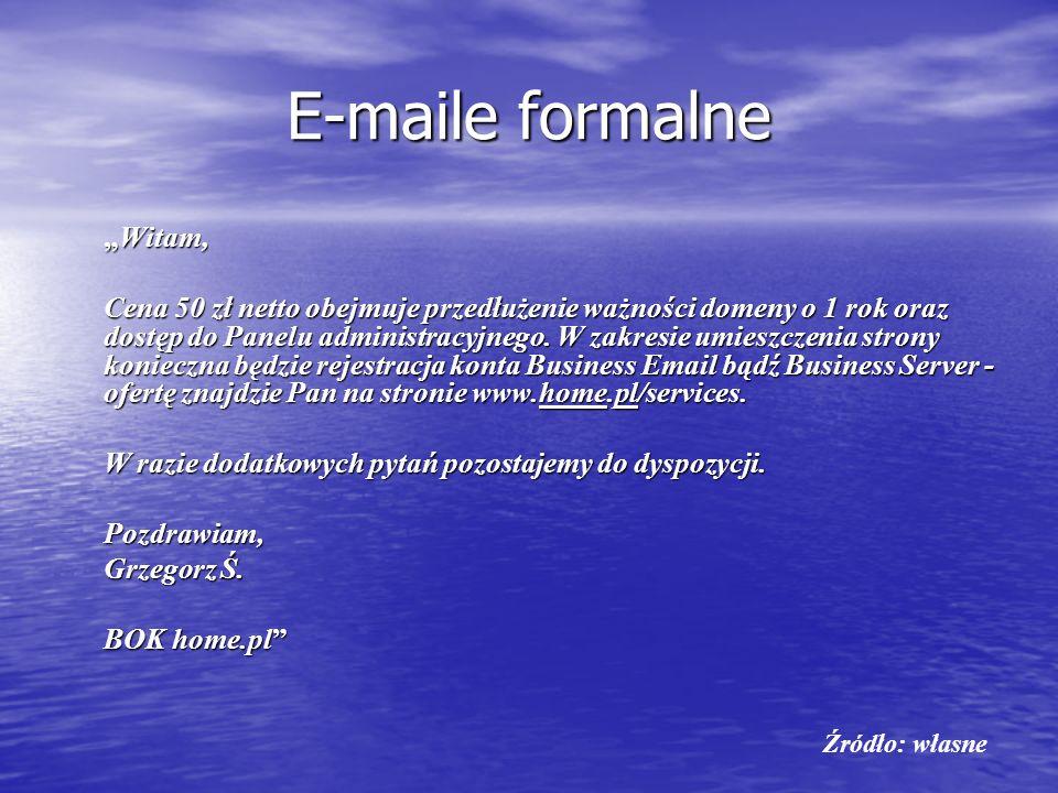 "E-maile formalne ""Witam,"