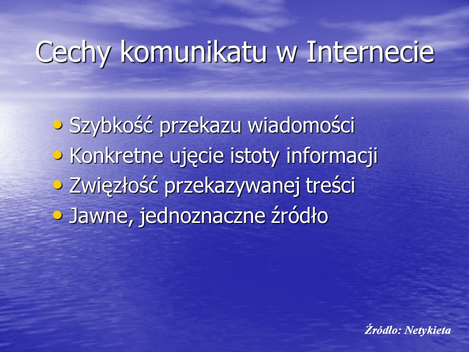 Cechy komunikatu w Internecie
