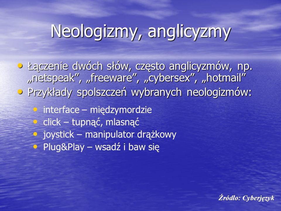 Neologizmy, anglicyzmy