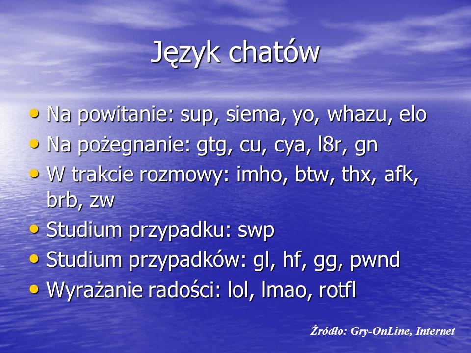 Język chatów Na powitanie: sup, siema, yo, whazu, elo