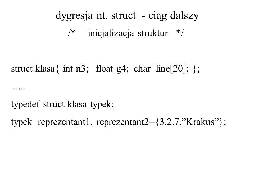 dygresja nt. struct - ciąg dalszy