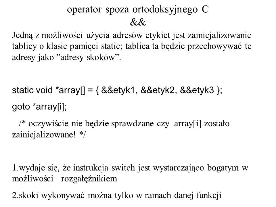 operator spoza ortodoksyjnego C &&