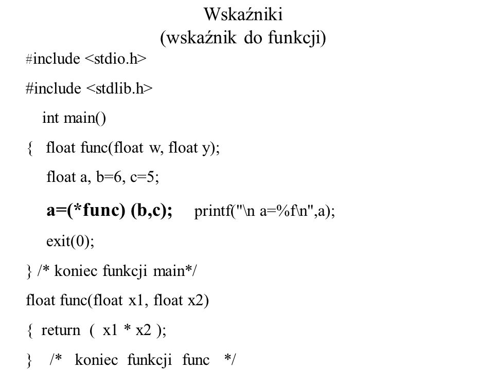 Wskaźniki (wskaźnik do funkcji)