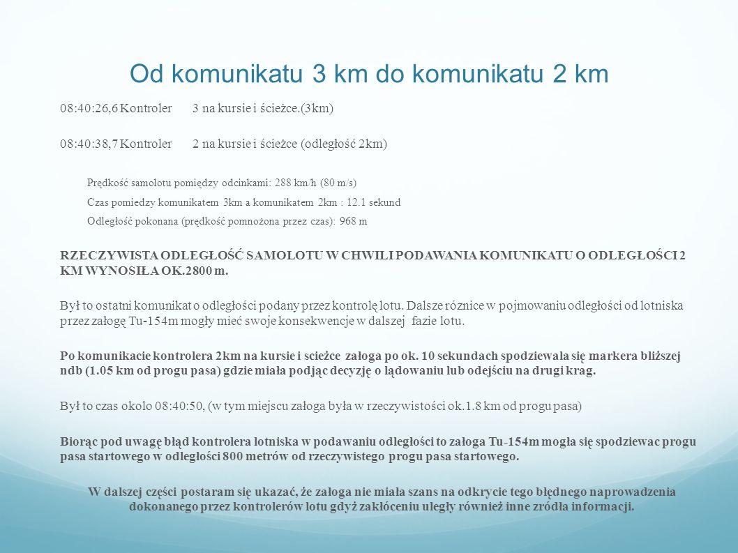 Od komunikatu 3 km do komunikatu 2 km