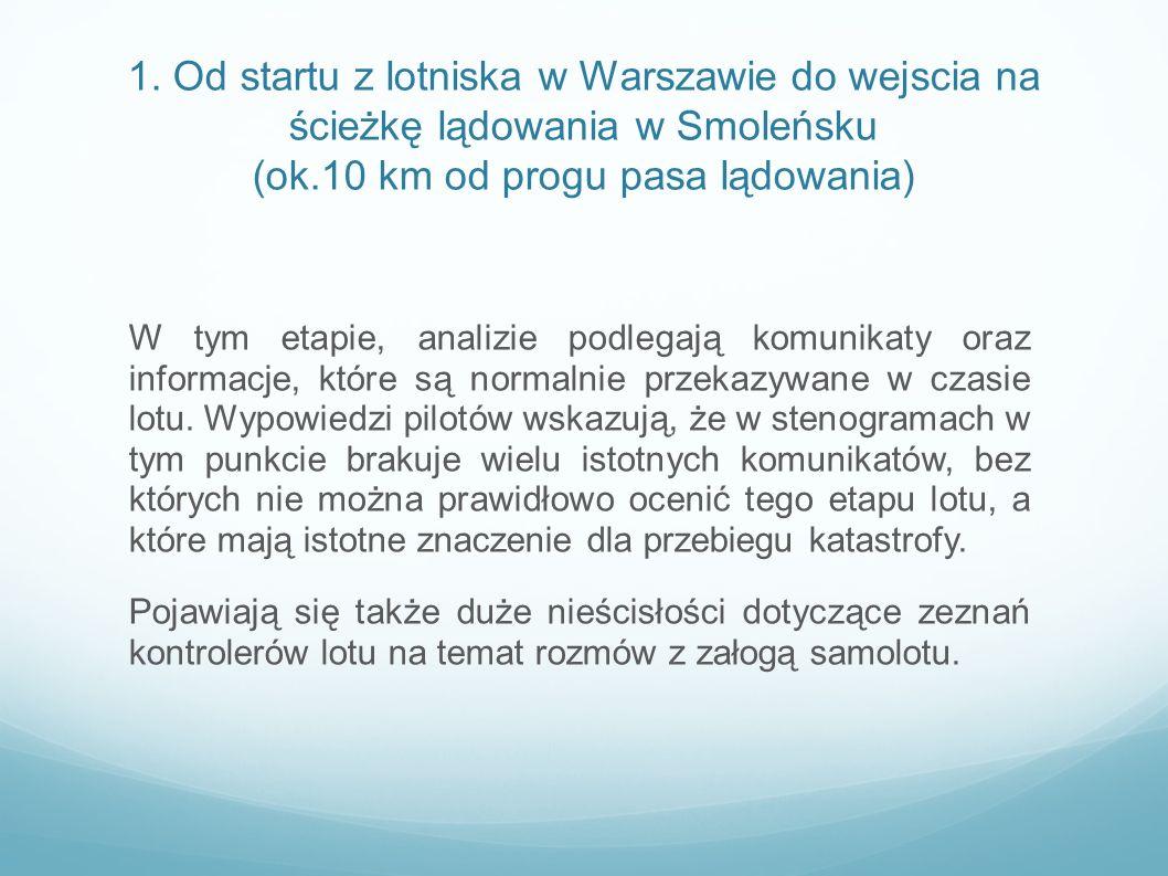 1. Od startu z lotniska w Warszawie do wejscia na ścieżkę lądowania w Smoleńsku (ok.10 km od progu pasa lądowania)