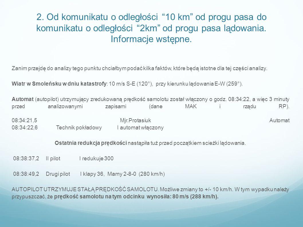2. Od komunikatu o odległości 10 km od progu pasa do komunikatu o odległości 2km od progu pasa lądowania. Informacje wstępne.