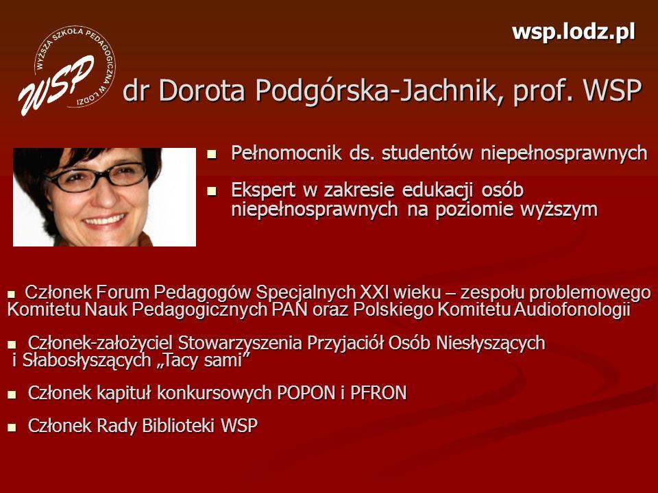dr Dorota Podgórska-Jachnik, prof. WSP