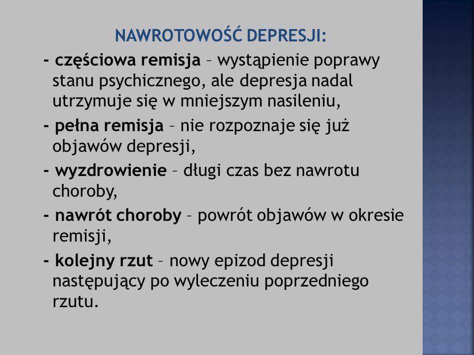 NAWROTOWOŚĆ DEPRESJI: - częściowa remisja – wystąpienie poprawy stanu psychicznego, ale depresja nadal utrzymuje się w mniejszym nasileniu, - pełna remisja – nie rozpoznaje się już objawów depresji, - wyzdrowienie – długi czas bez nawrotu choroby, - nawrót choroby – powrót objawów w okresie remisji, - kolejny rzut – nowy epizod depresji następujący po wyleczeniu poprzedniego rzutu.