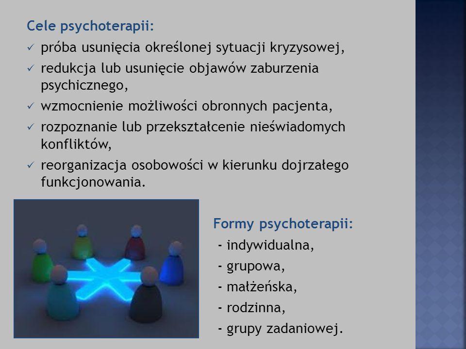 Cele psychoterapii: próba usunięcia określonej sytuacji kryzysowej, redukcja lub usunięcie objawów zaburzenia psychicznego,