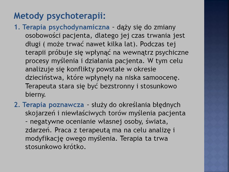Metody psychoterapii: