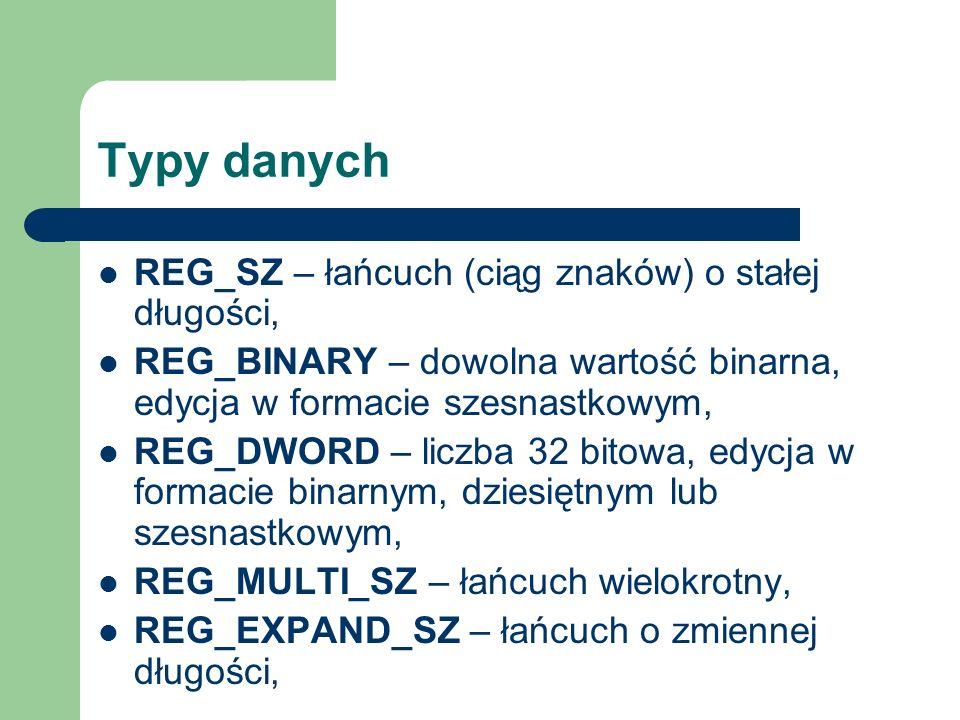 Typy danych REG_SZ – łańcuch (ciąg znaków) o stałej długości,