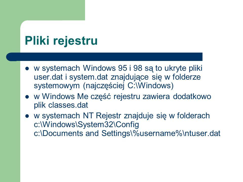 Pliki rejestru w systemach Windows 95 i 98 są to ukryte pliki user.dat i system.dat znajdujące się w folderze systemowym (najczęściej C:\Windows)