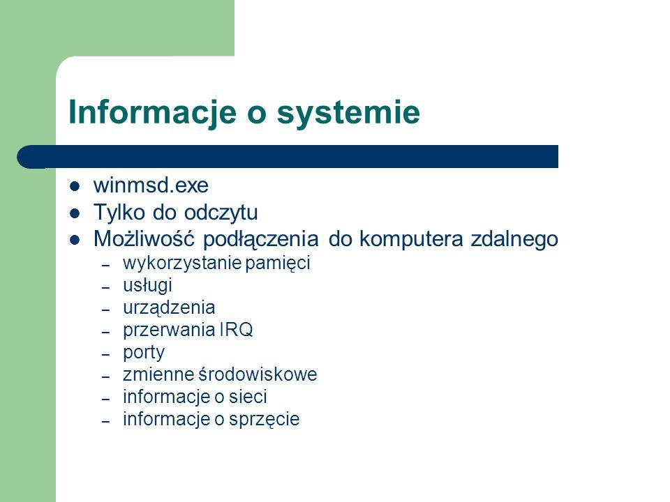 Informacje o systemie winmsd.exe Tylko do odczytu