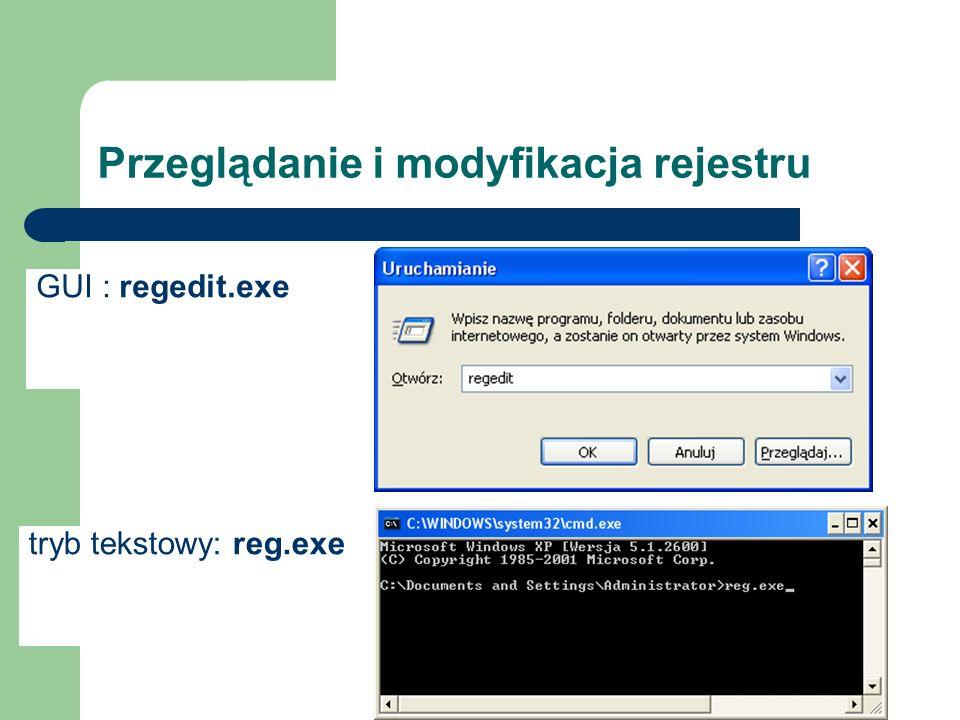 Przeglądanie i modyfikacja rejestru