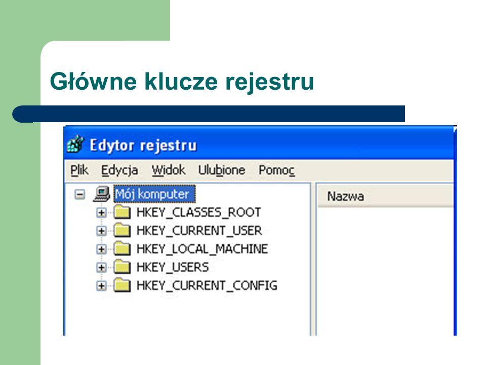Główne klucze rejestru