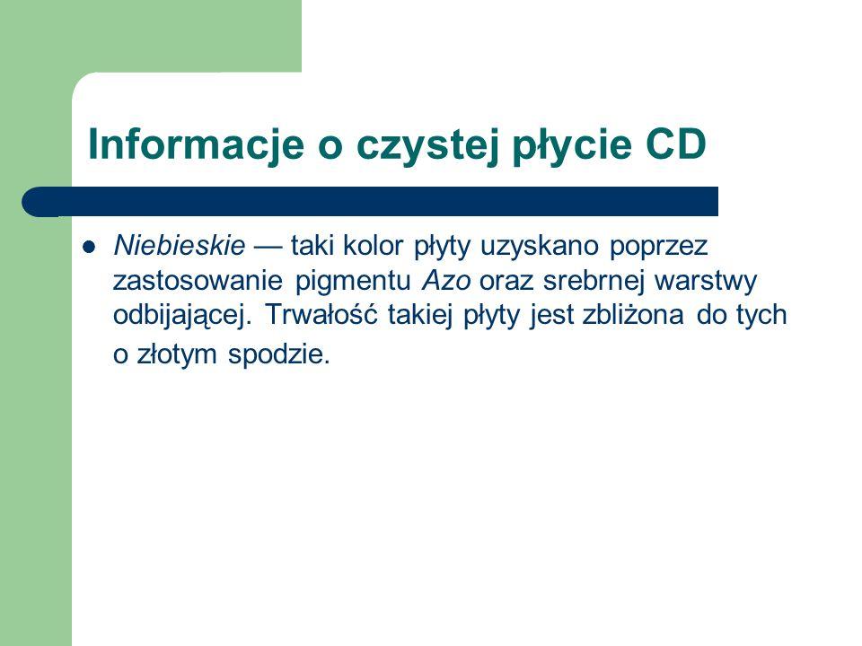 Informacje o czystej płycie CD