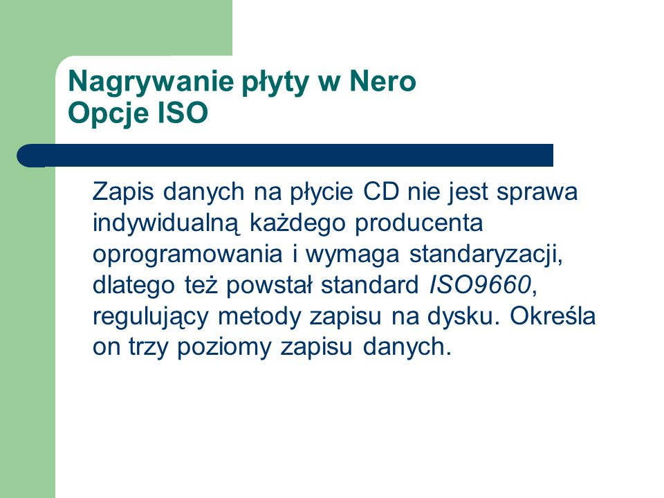 Nagrywanie płyty w Nero Opcje ISO