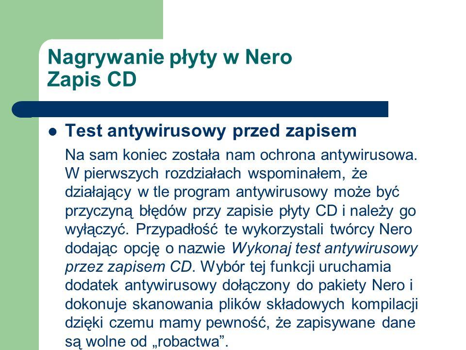 Nagrywanie płyty w Nero Zapis CD