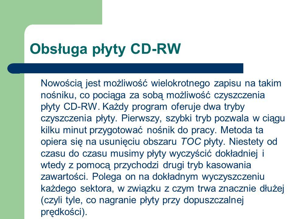 Obsługa płyty CD-RW