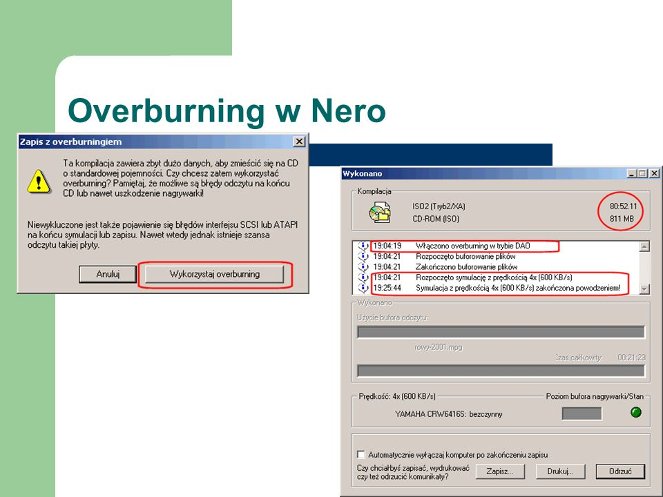 Overburning w Nero