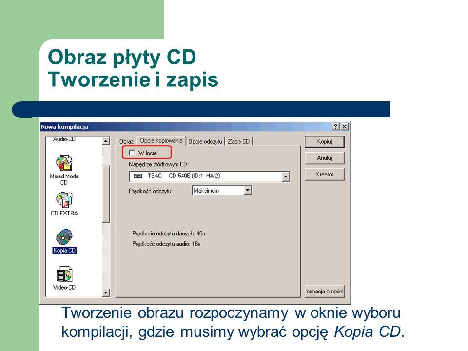 Obraz płyty CD Tworzenie i zapis