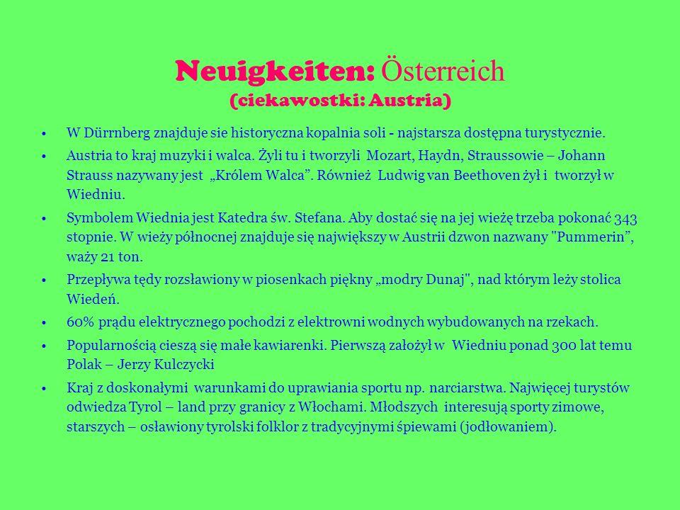 Neuigkeiten: Österreich (ciekawostki: Austria)