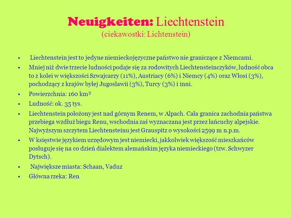 Neuigkeiten: Liechtenstein (ciekawostki: Lichtenstein)