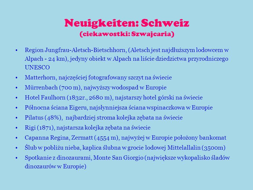 Neuigkeiten: Schweiz (ciekawostki: Szwajcaria)