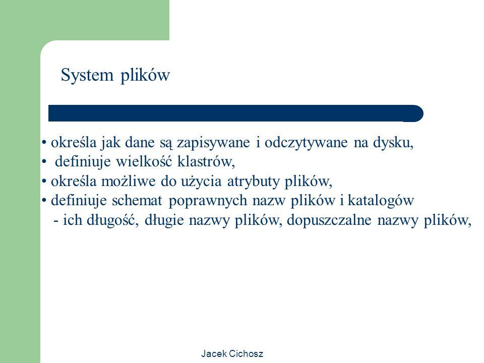 System plików określa jak dane są zapisywane i odczytywane na dysku,