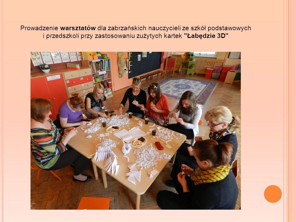Prowadzenie warsztatów dla zabrzańskich nauczycieli ze szkół podstawowych i przedszkoli przy zastosowaniu zużytych kartek Łabędzie 3D