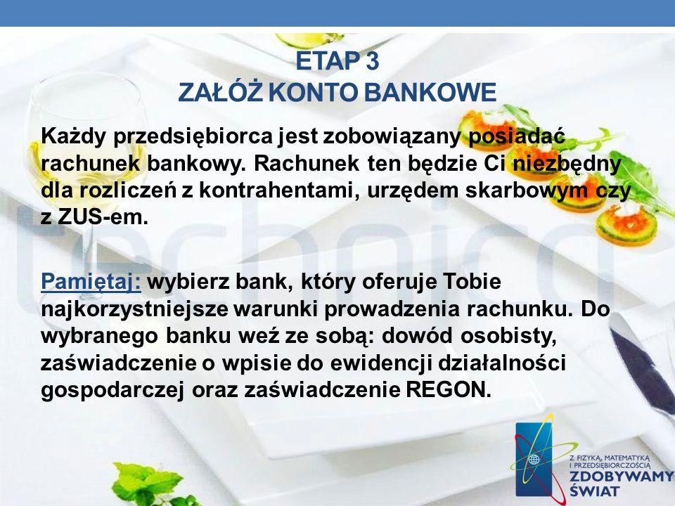 ETAP 3 ZAŁÓŻ KONTO BANKOWE