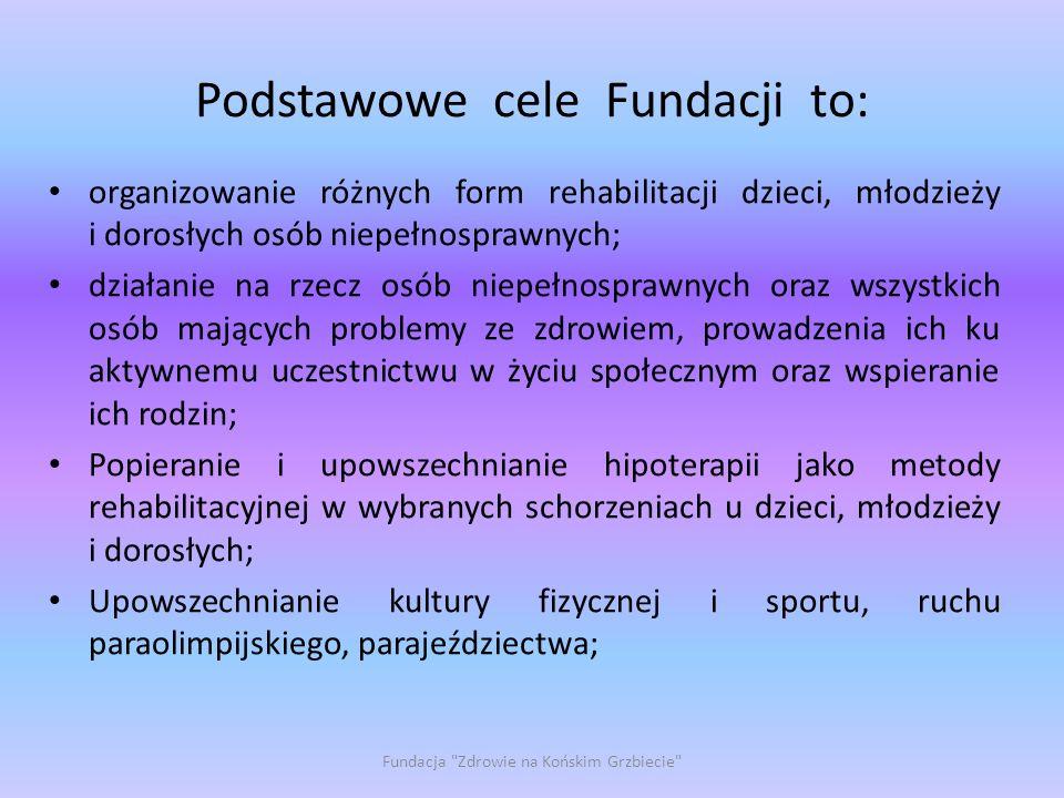 Podstawowe cele Fundacji to: