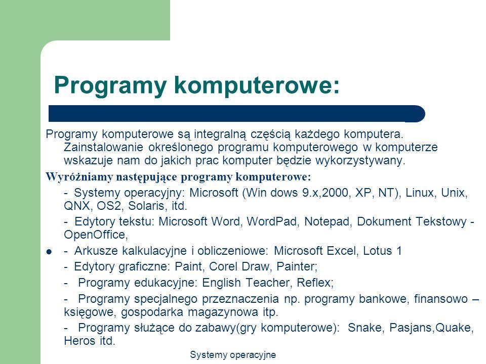 Programy komputerowe: