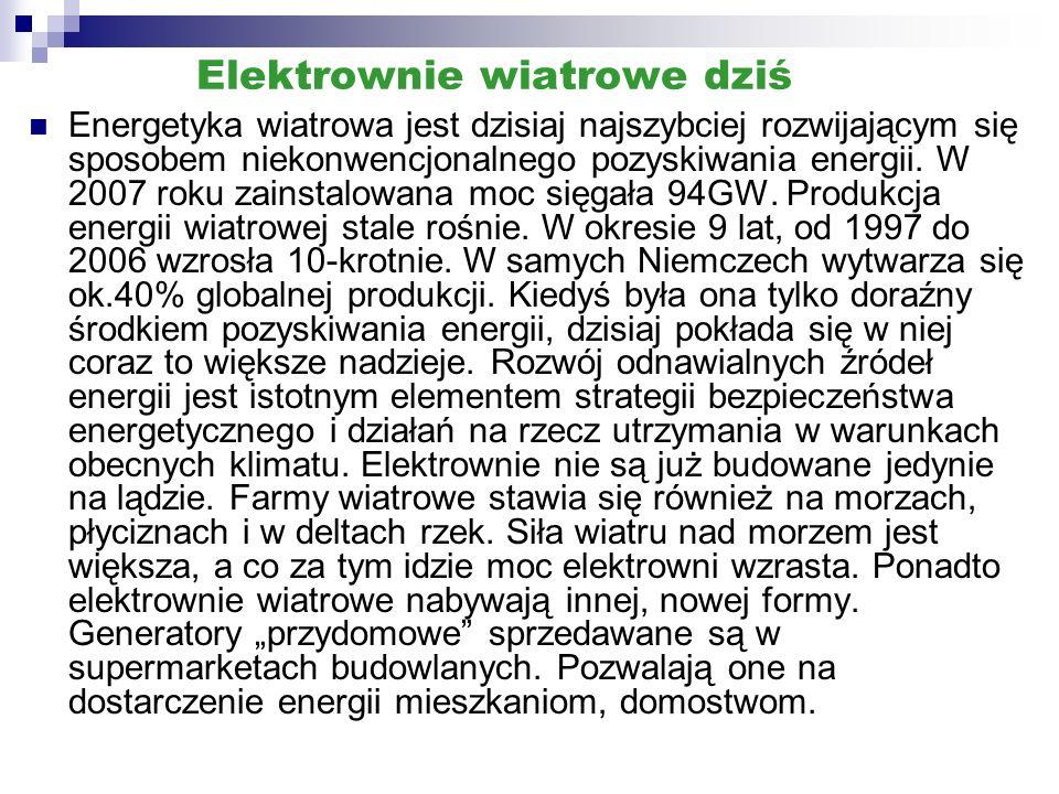 Elektrownie wiatrowe dziś